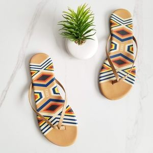 TKEES Foundation Jaya Tan Aztec Leather Flip Flops